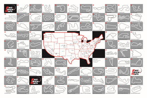 Personalizable Race Track Map Poster Grey 24x36