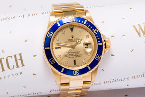 Rolex  Submariner solid 18ct Gold ref 16618