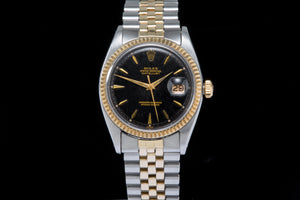 Rolex Datejust ref 1601 with rare Black gilt dial