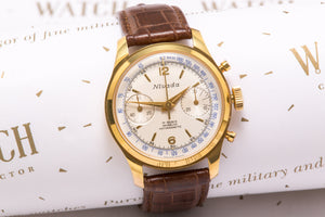 Nivada vintage chronograph, valjoux 23, 18K gold, New Old Stock