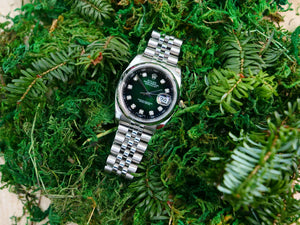 Rolex Datejust graduated green dial with diamond hour markers