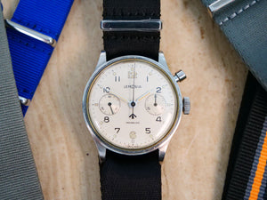 Lemania military single pusher chronograph