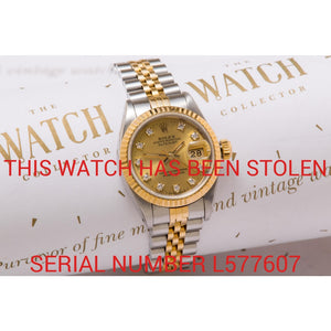Rolex Ladies Date Just Diamond Dial - This Watch Has Been Stolen