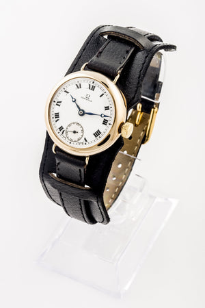 Omega 9ct Gold trench watch sold