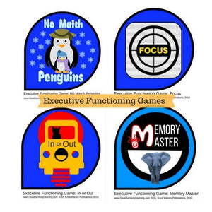 The Executive Functioning Games Bundle features Dr. Warren's four EF card Games: In or Out, No Match Penguins, Focus and Memory Master.