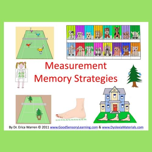 This cute PowerPoint offers twenty-two slides with memory strategies that will help students remember measurement conversions such as twelve inches in a foot, three feet in a yard, four cups in a quart, two pints in a quart, four quarts in a gallon and sixteen ounces in a pound.