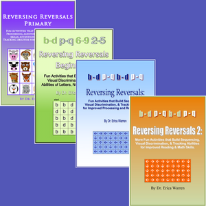 The Reversing Reversals Bundle offers four remedial resources for students with dyslexia and other learning difficulties.  The activities help to strengthen the foundational cognitive skills needed for learning core academics, such as reading and math.
