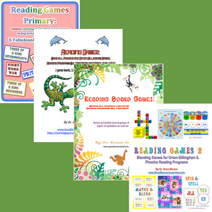 The Reading Games Series offers four reading games publications (44 printable games) for students with dyslexia and other reading difficulties.  The games were all designed to enhance any Orton-Gillingham or phonics-based reading program.