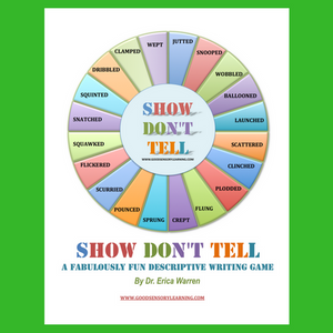 Show Don't Tell is a super fun, multisensory writing game by Dr. Erica Warren. This game teaches players how to become masters of descriptive writing.