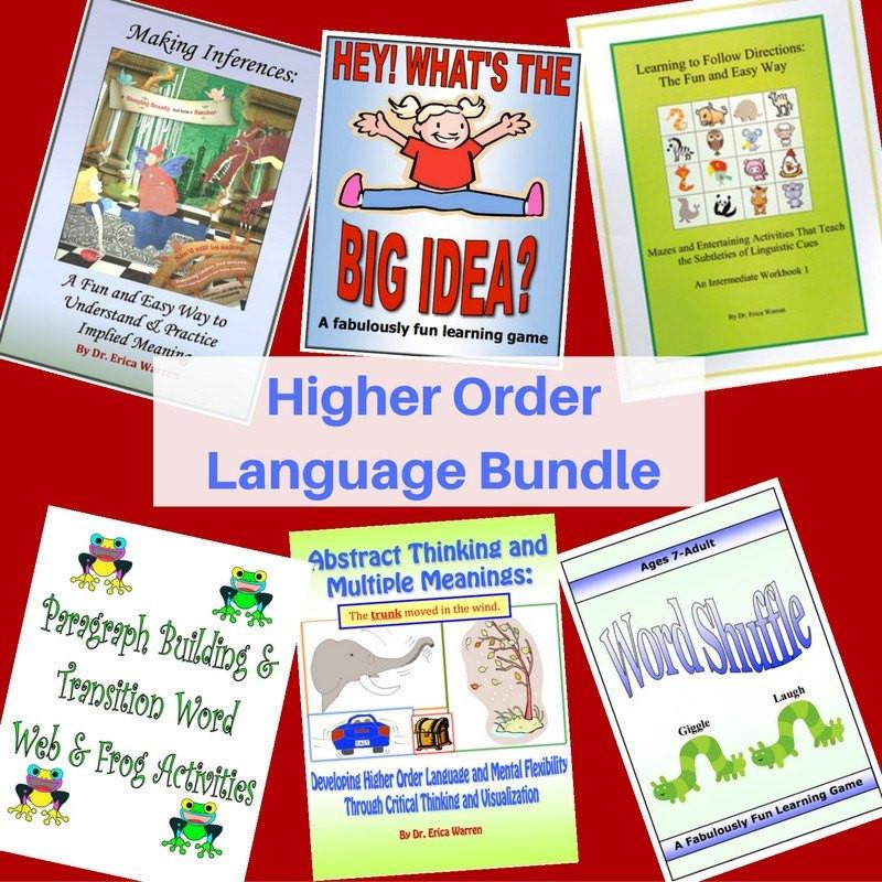 The higher Order Language Learning Bundle offers a number of publications at a discount that can help students with inferences, multiple meanings, non-literal meanings, main ideas and predicting outcomes.