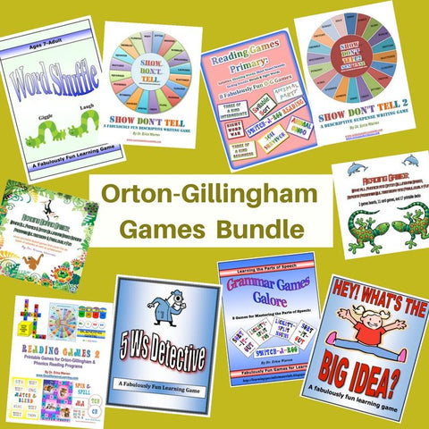 The Orton Gillingham Games Bundle offers a suite of fun and multisensory games, by Dr. Erica Warren, that can make any OG or phonics-based reading program enjoyable and memorable.