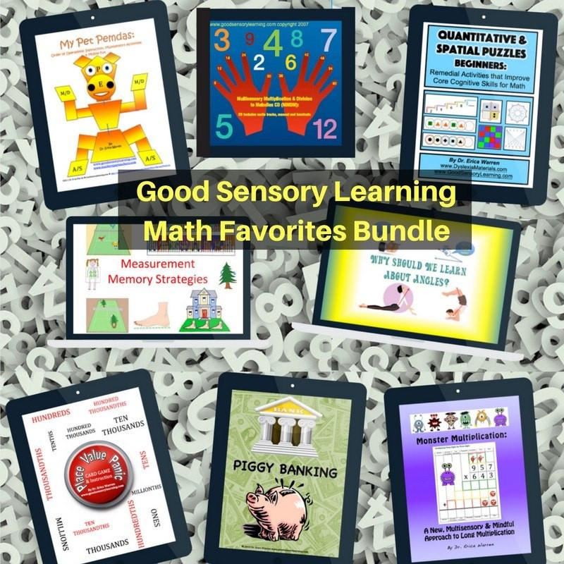 The Math Favorites Multisensory Bundle is a discount offering of Dr. Warren's most popular math downloads.  All of these products offer multisensory methods and materials that bring fun and embedded memory strategies into math instruction.