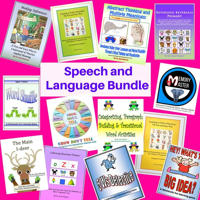 The Speech and Language Bundle features Dr. Warren's popular receptive and expressive language publications.