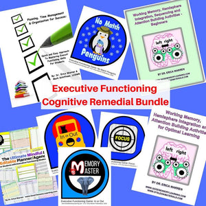 Executive Functioning Cognitive Remedial Bundle offers a discounted suite of downloadable activities, games, and handouts that were designed to help learning specialists, educational therapists, parents and other specialists assist students will executive functioning.