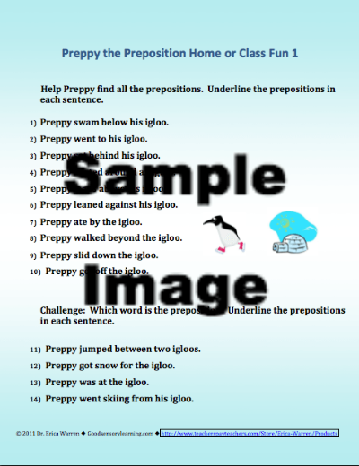 Preppy the Preposition Penguin lesson sample download