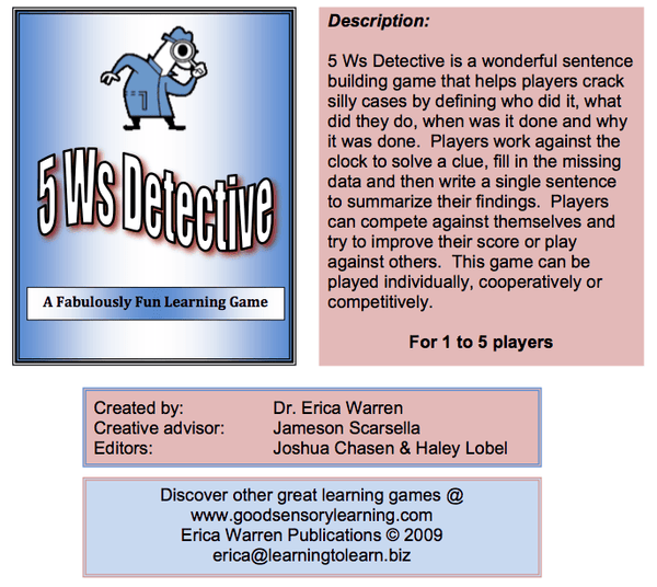 5 Ws Detectives Writing Game