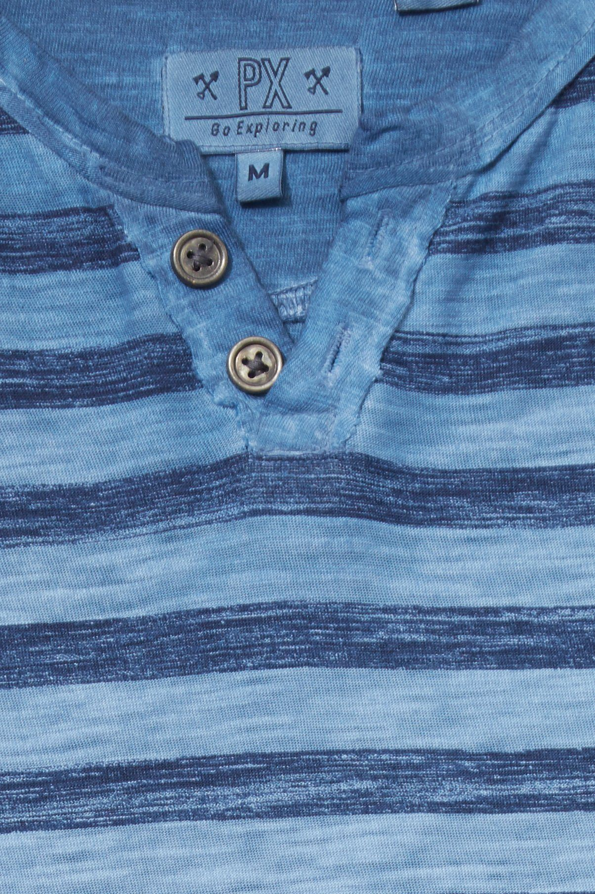 Boy, Short Sleeve Tee - Blue Heather Stripe Henley