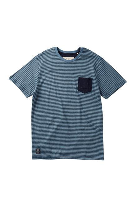 Boy, Short Sleeve Tee - Blue Stripe Pocket Tee With Contrast Pocket