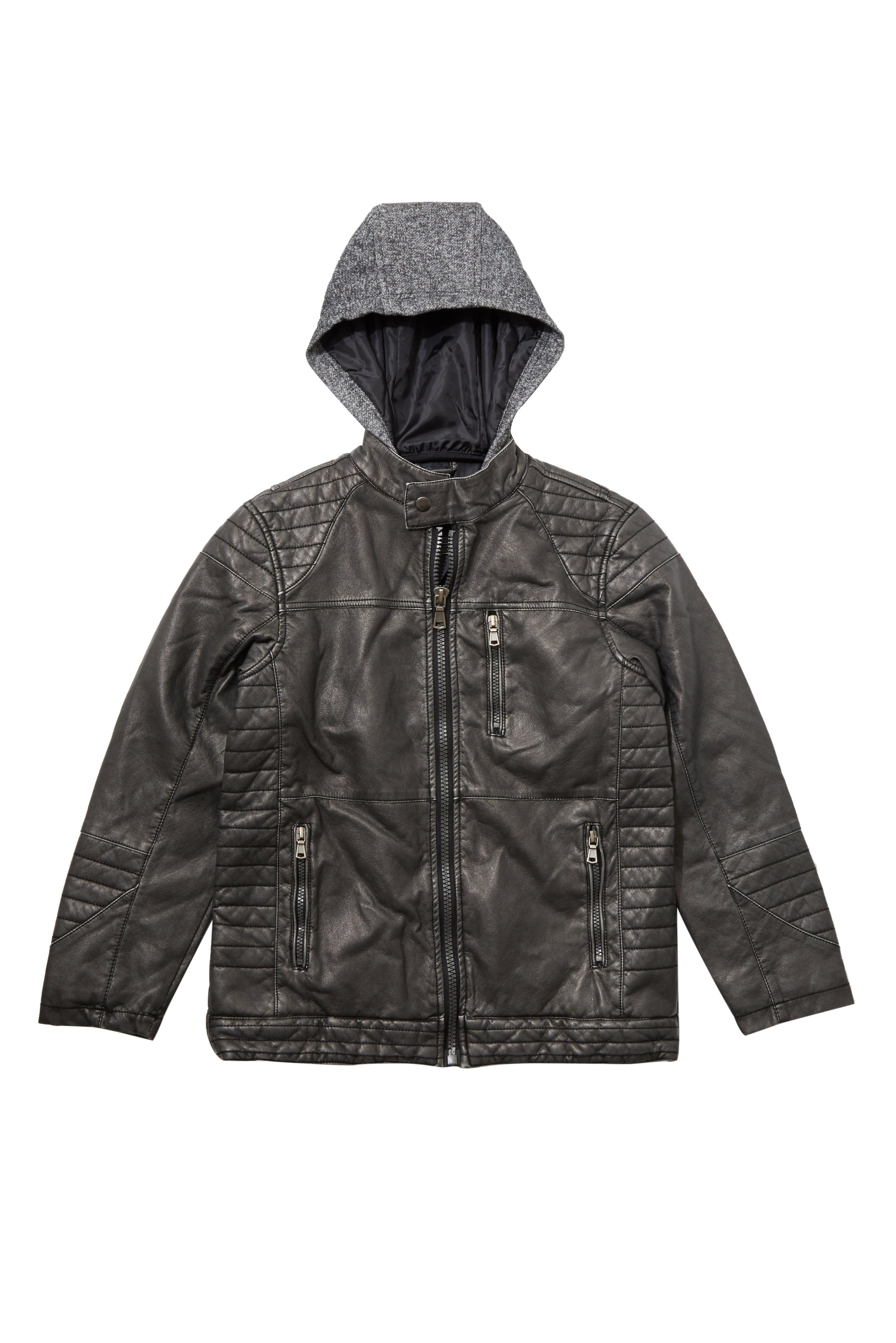 Jacket Boy - Vegan Leather Moto Jacket With Knit Hoodie