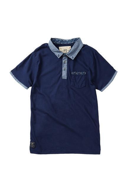 Polo - Boy - Navy Pique Polo With Chambray Placket And Collar