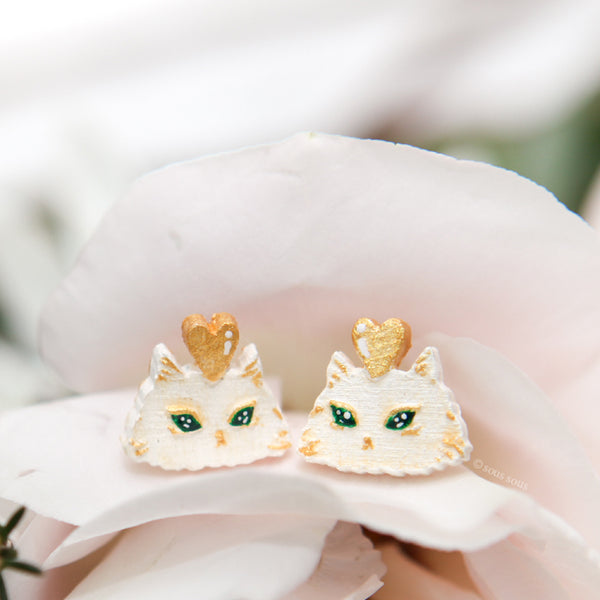 Earrings: Whiskers on Kittens (White & Yellow Gold)