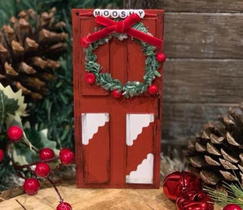 Red Elf Sized Door with Wreath, Personalized with Elf Name