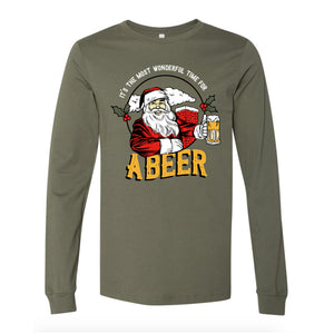 Time for a Beer Design Military Green Long Sleeve