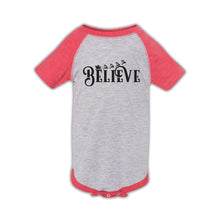 Load image into Gallery viewer, Believe Design Vintage Heather & Vintage Red Baseball Onesie
