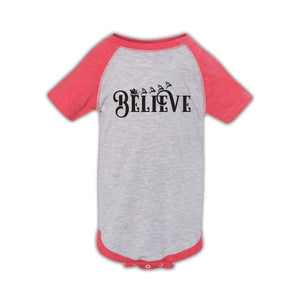 Believe Design Vintage Heather & Vintage Red Baseball Onesie