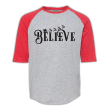 Load image into Gallery viewer, Believe Design Vintage Heather & Vintage Red 3/4 Baseball Youth