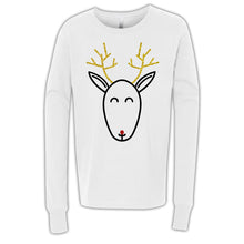 Load image into Gallery viewer, Rudolph Glitter Design White Long Sleeve Youth