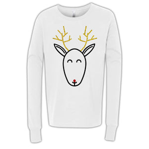 Rudolph Glitter Design White Long Sleeve Youth