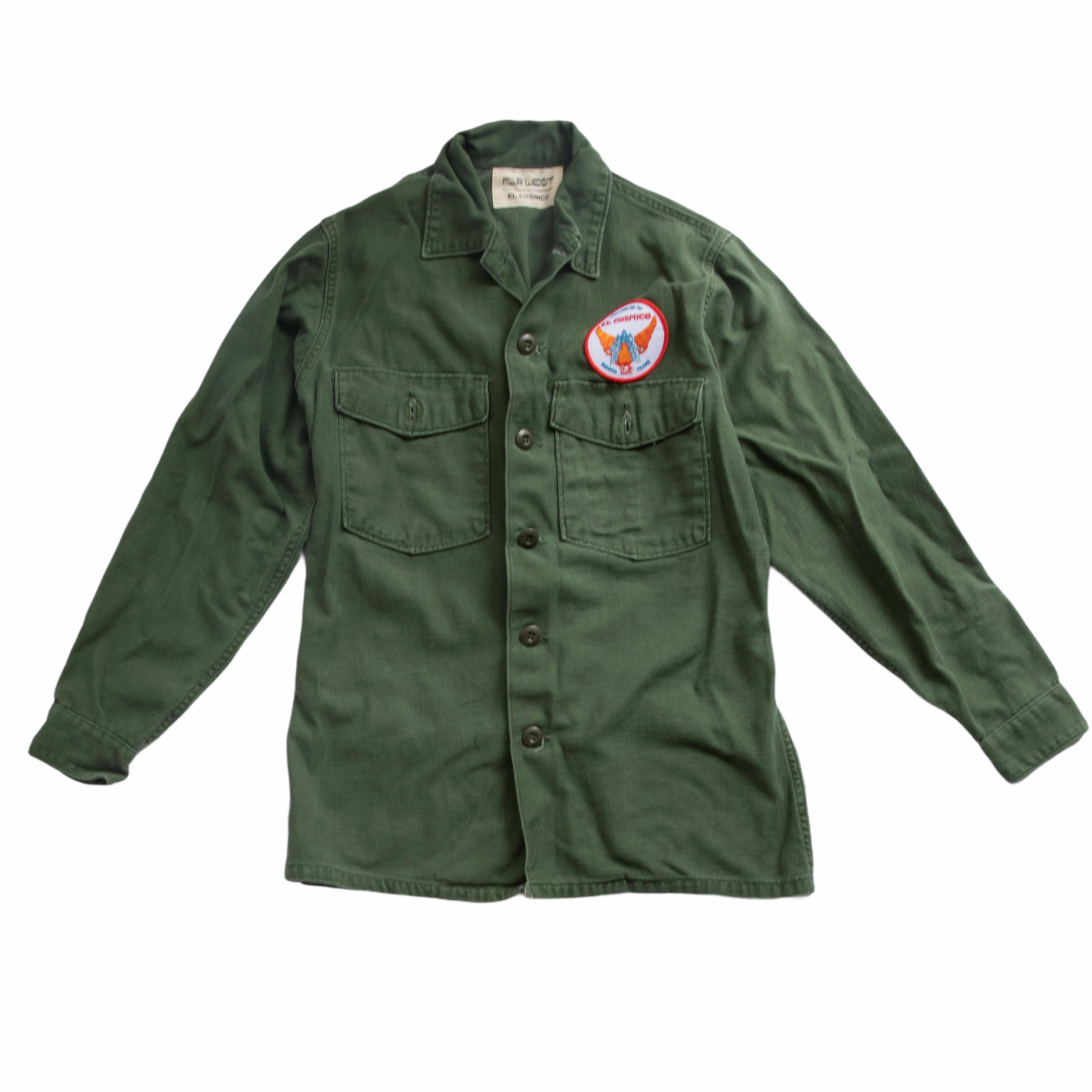 Vintage Army Long Sleeve Work Shirt with Garuda Patch - Medium