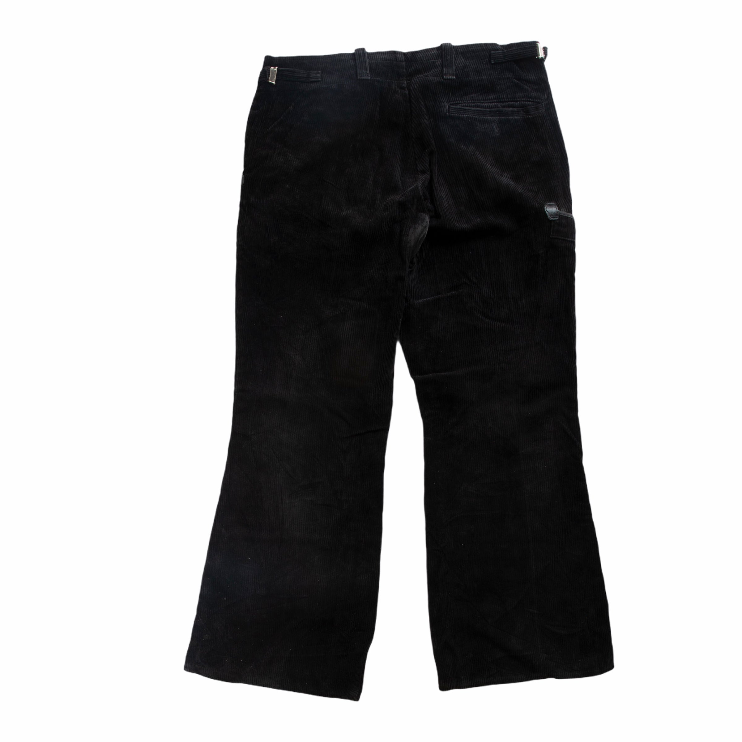 Vintage Black Double Zipper Moto Flared Cord Pants
