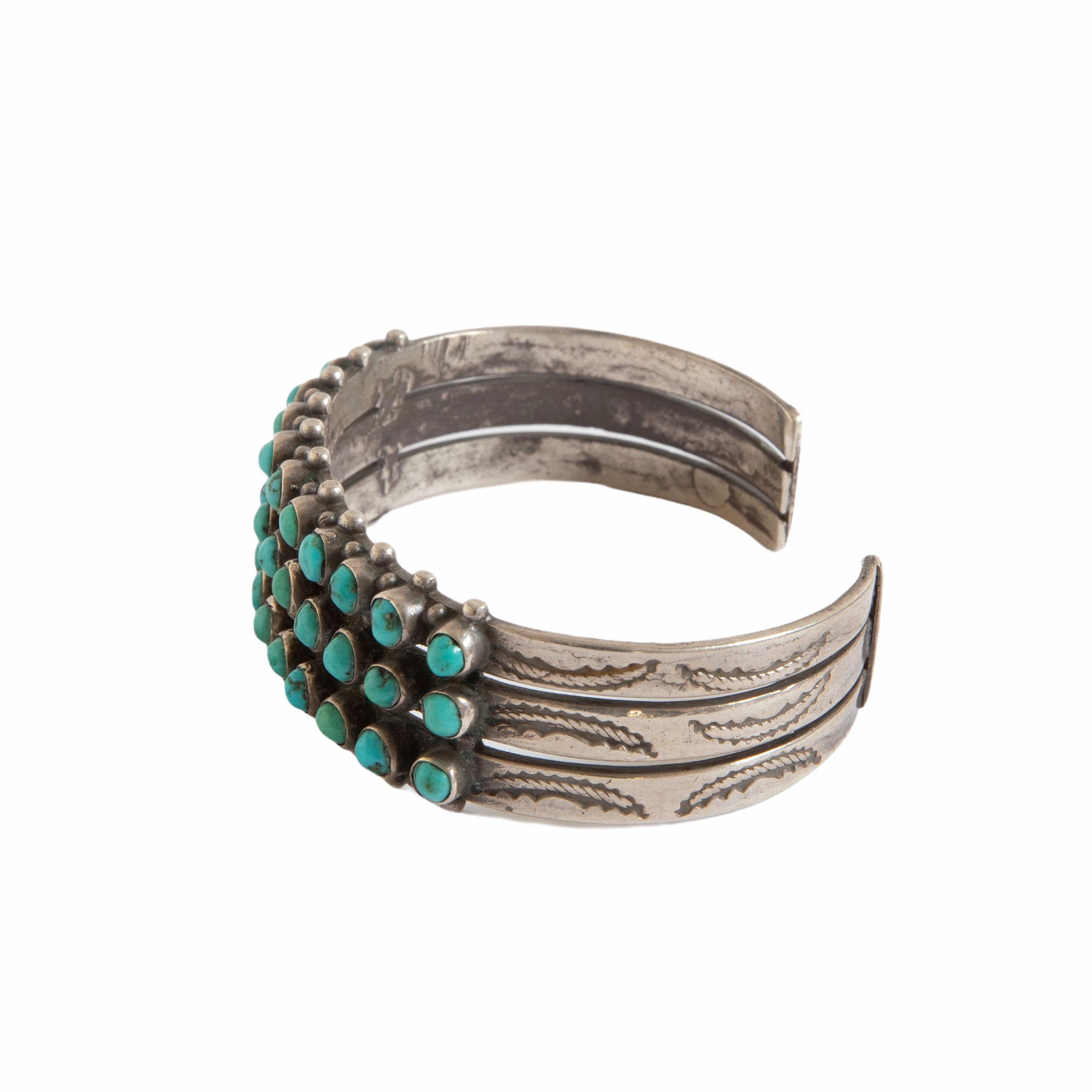 1930s Zuni Bisbee Turquoise Coin Silver Cuff