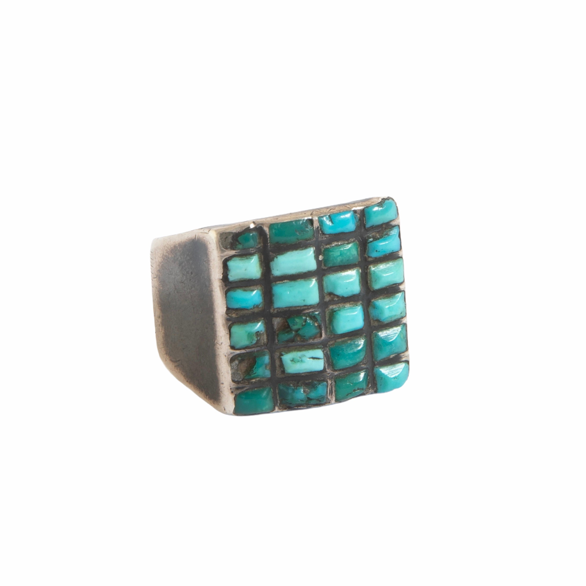 1950s Zuni Channel Cerrios Turquoise Ring - 6 Rows