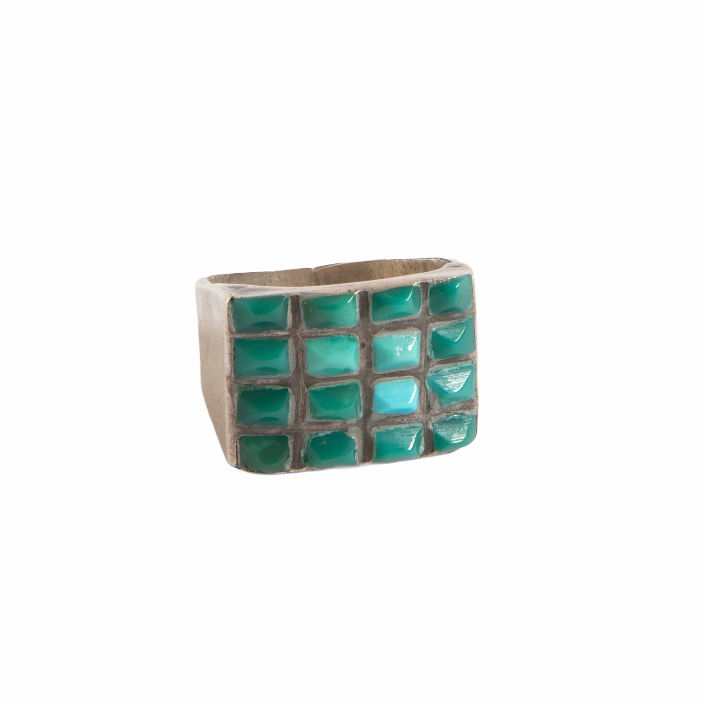 1950s Zuni Channel Cerrios Turquoise Ring 01
