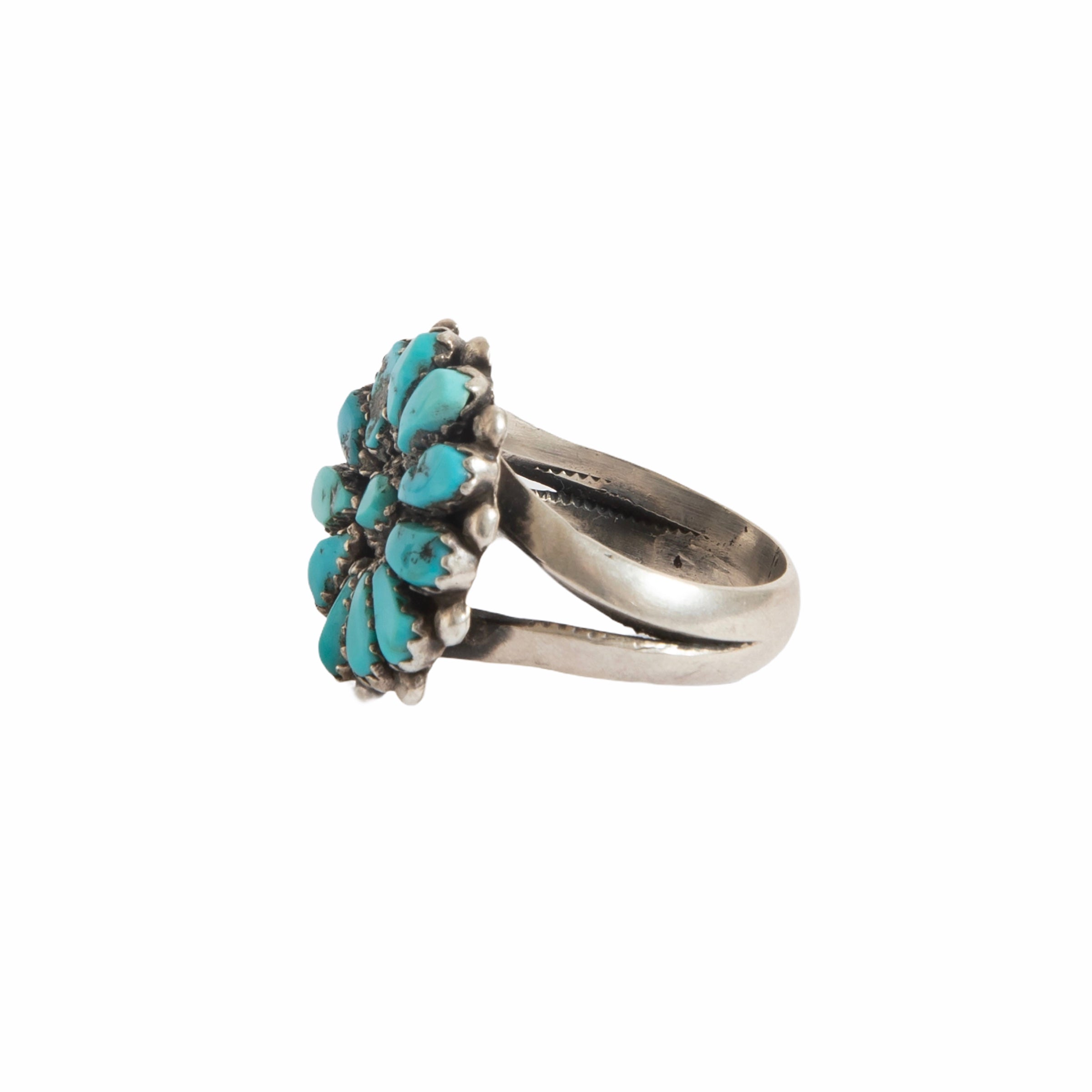 1960s Navajo Cluster Fox Morenci Turquoise Ring