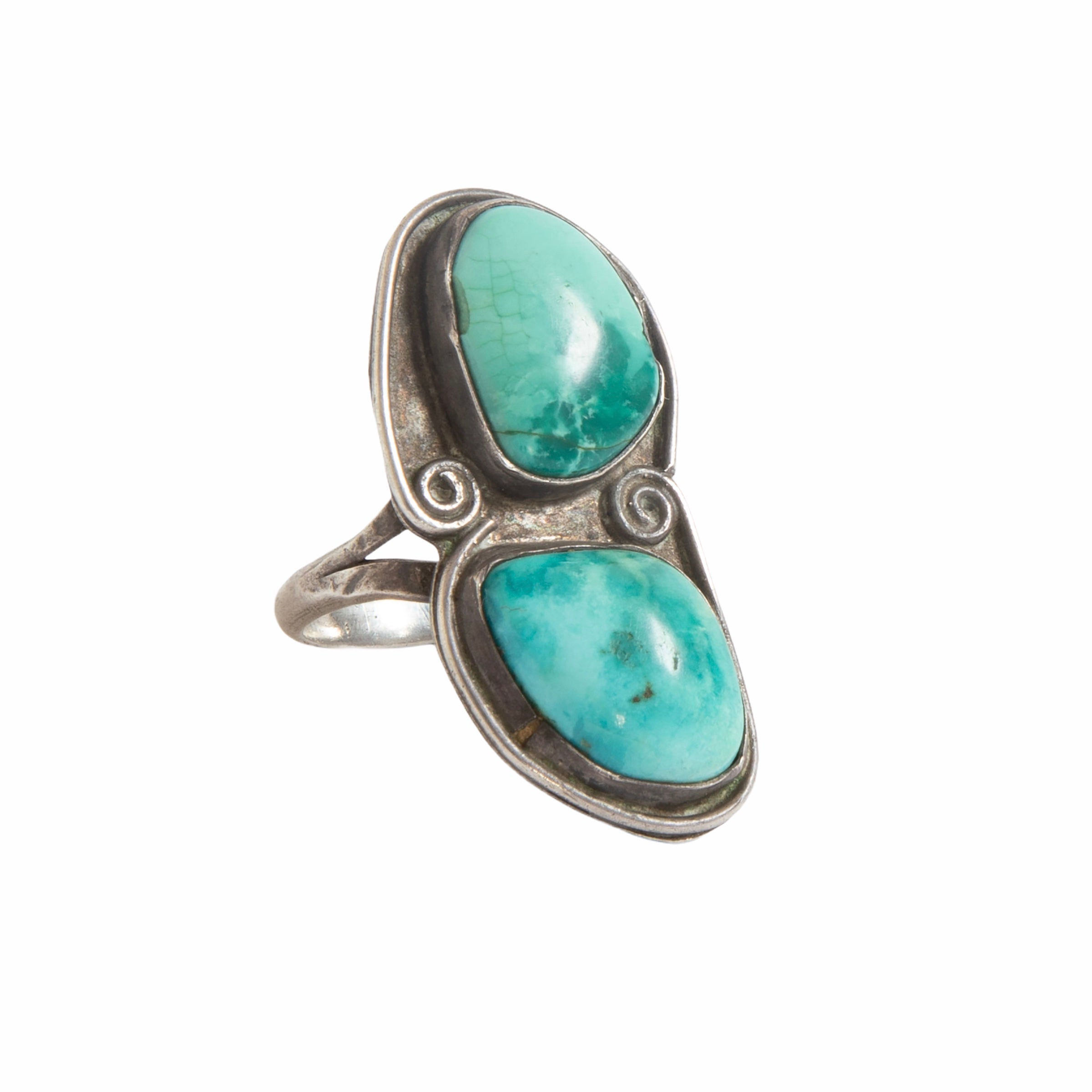Vintage Turquoise Two Stone Ring