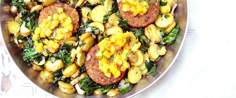 Breakfast Sausage Hash with Basil Peach Chutney