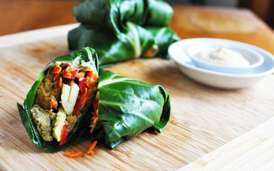 Mediterranean Collard Greens Wraps