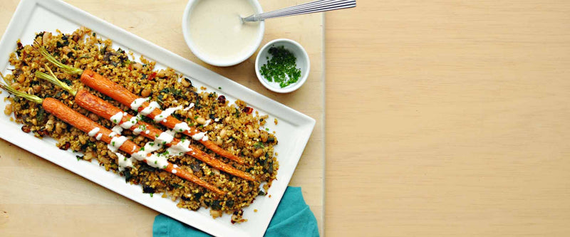 Savory Mushroom Millet Medley with Roasted Carrots and Tahini Sauce