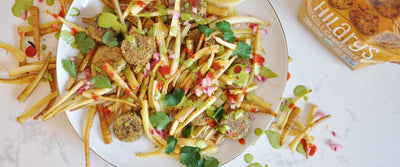 Parsnip Fries with Veggie Bites and Green Goddess Dressing