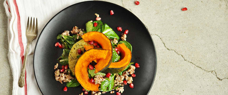 Squash with Wild Rice and Spinach Salad