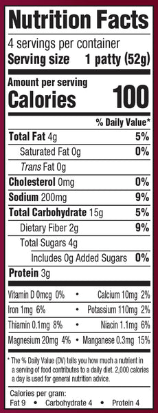 Nutrition Information: for 1 patty: 4 g fat, 200 g sodium, 15 g carbs, 3 g protein