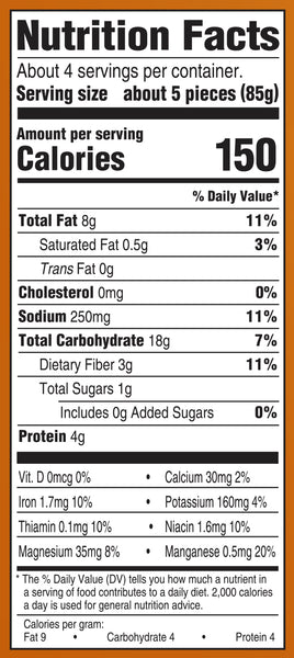 Nutrition Information: for 5 pieces: 8 g fat, 250 g sodium, 18 g carbs, 4 g protein