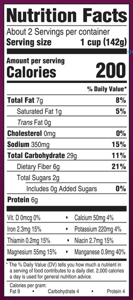 Nutrition Information: for 1 cup: 200 calories, 7 g fat, 350 g sodium, 29 g carbs, 6 g protein