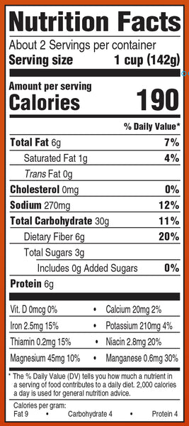 Nutrition Information: for 1 cup: 190 calories, 6 g fat, 270 g sodium, 30 g carbs, 6 g protein