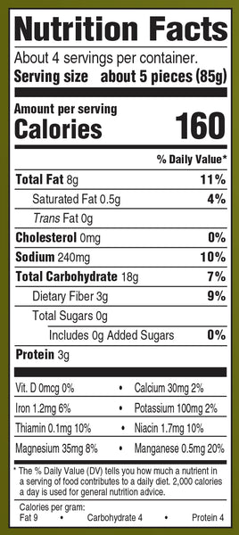 Nutrition Information: for 5 pieces: 160 calories, 8 g fat, 240 g sodium, 18 g carbs, 3 g protein