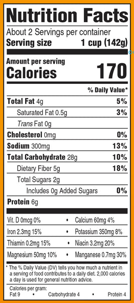 Nutrition Information: for 1 cup: 170 calories, 4 g fat, 300 g sodium, 28 g carbs, 6 g protein